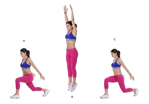 Bài tập chân thon Jump Lunge