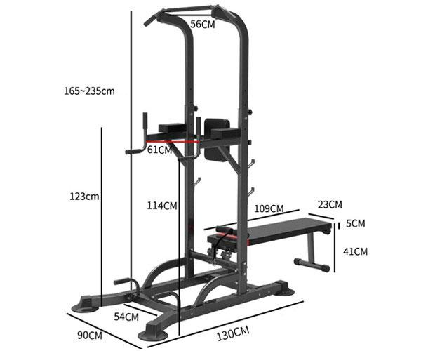 Kích thước lắp ghế tập tạ đa năng T058