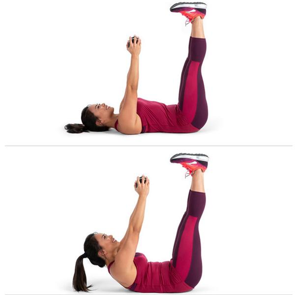 Bài tập Arm Pull Over Straight - Leg Crunch