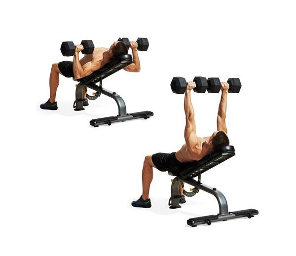 Bài tập Gym giảm cân Incline Dumbbell Press