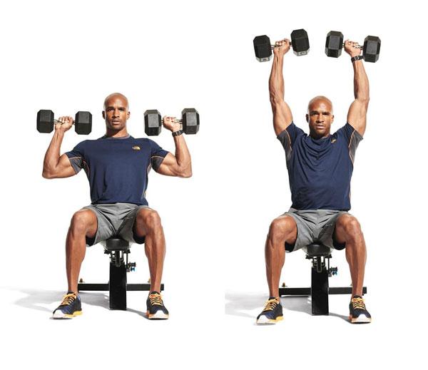 Bài tập Gym giảm cân Seated Dumbbell Press