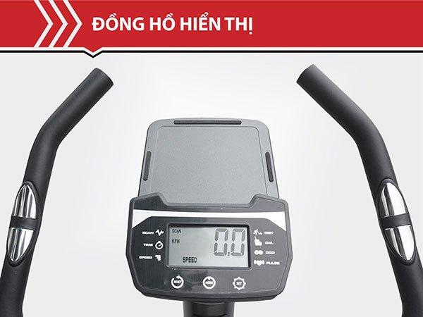 Tay cầm và bảng đồng hồ hiển thị trên xe đạp tập Tokado TK900