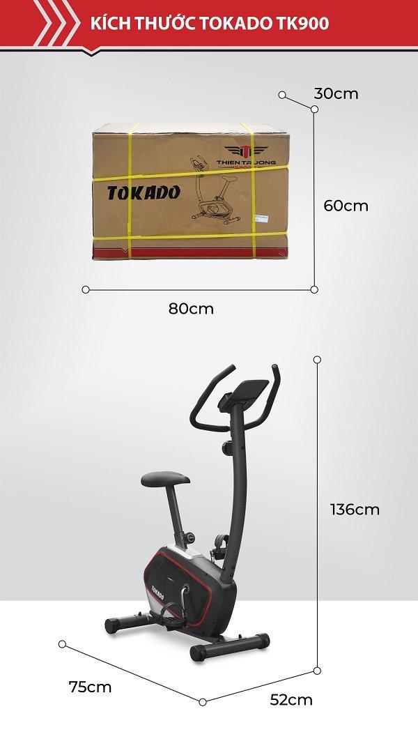 Kích thước xe đạp tập Tokado TK900