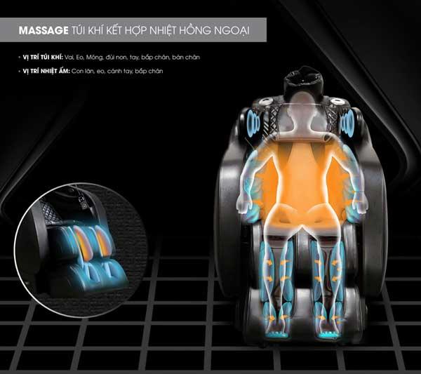 Nhiệt hồng ngoại trên ghế massage Saporoo SP-909FX