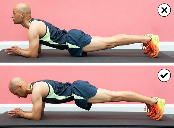 Tập Plank bị đau lưng do hạ mông quá thấp