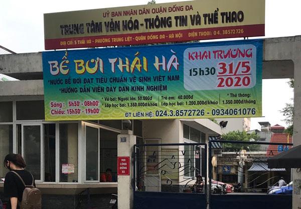 Giờ mở cửa của bể bơi Thái Hà khá thuận tiện cho khách hàng đến mua vé