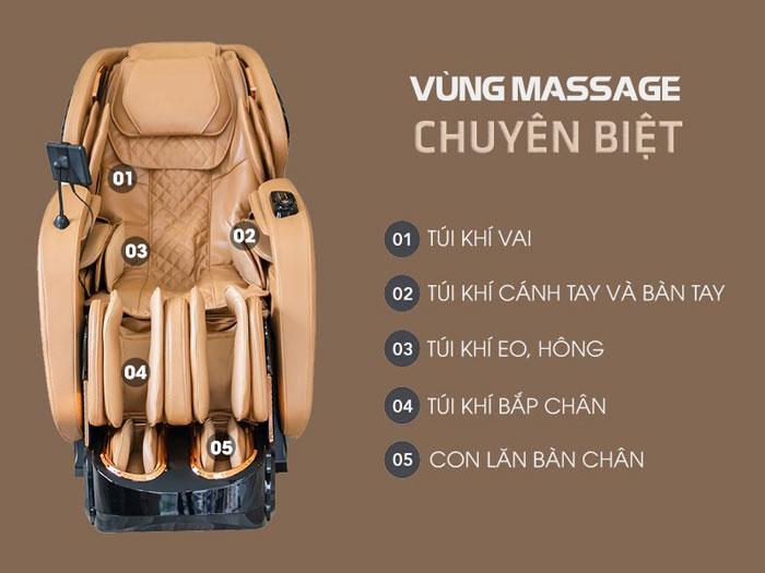 Túi khí trên ghế massage OR-520 Plus