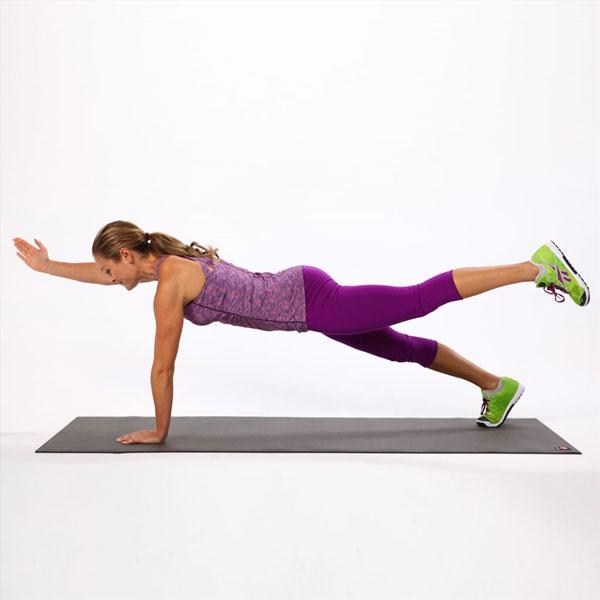 Plank 1 tay, 1 chân
