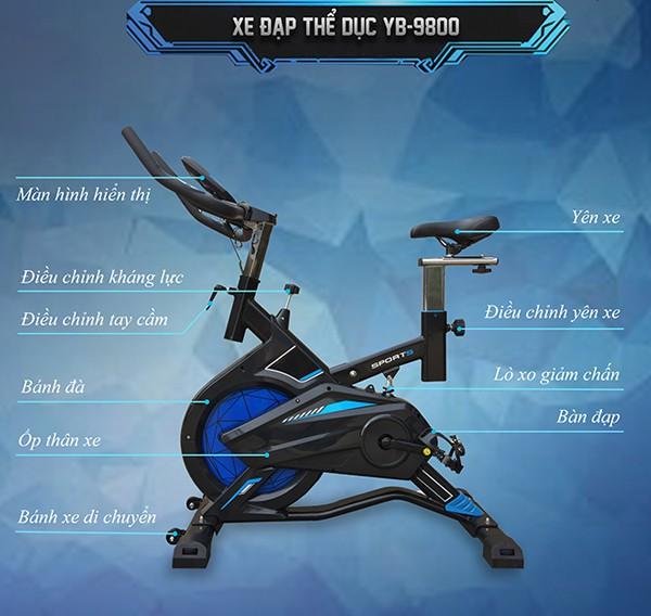 Cấu tạo xe đạp tập YB-9800