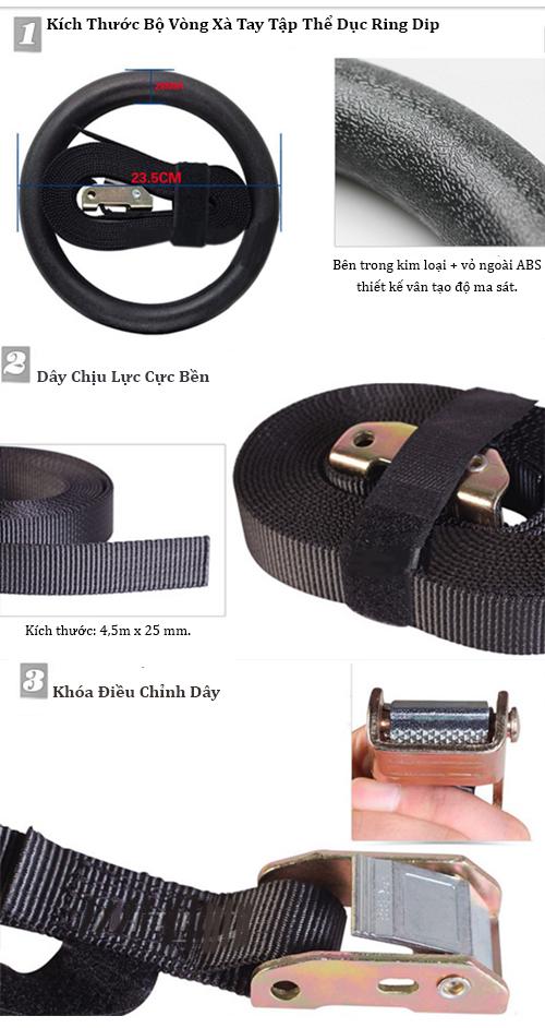 Chi tiết bộ vòng xà tay tập thể dục Ring Dip