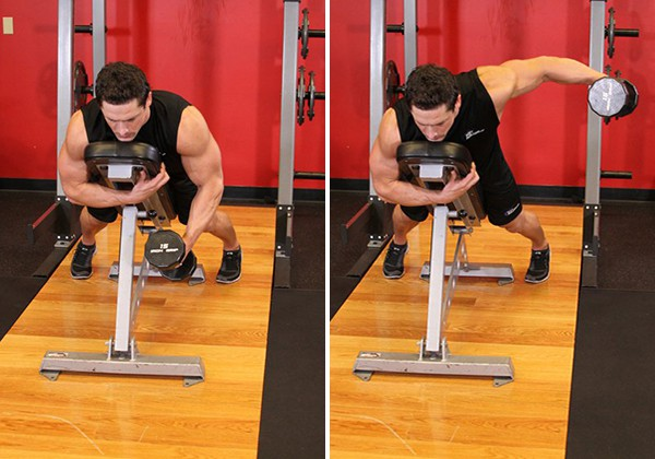 Dumbbell Lying One-Arm Rear Lateral Raise