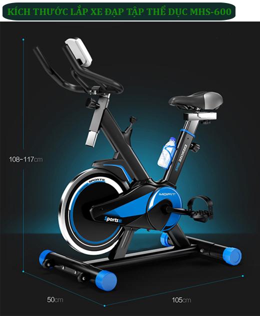 Kích thước lắp xe đạp tập thể dục MHS-600