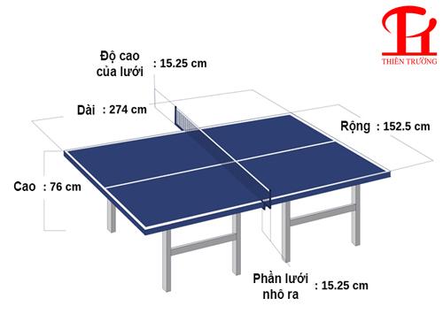 Kích thước phòng đặt bàn bóng bàn tiêu chuẩn