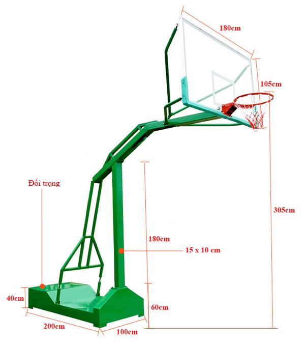 Kích thước trụ bóng rổ TT-501