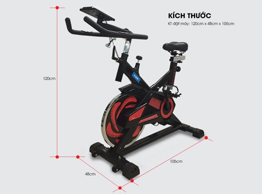 Kích thước lắp xe đạp tập YB-7800