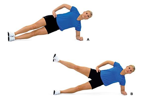 Plank nghiêng nâng chân