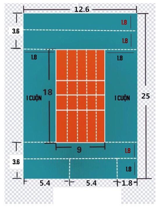 Sơ đồ sân bóng chuyền Học Viện Kỹ thuật Quân sự