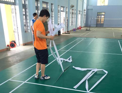 Thi công sân cầu lông tại Trường THPT EaHLeo