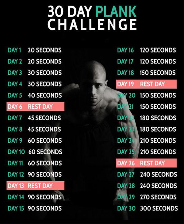 Lịch tập Plank 30 ngày