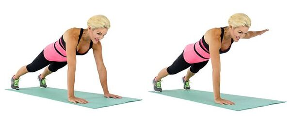 Plank with lateral arm raise.