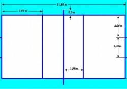 Kích thước sân đá cầu chuẩn dùng cho thi đấu là bao nhiêu?